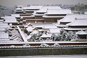 Forbidden City Prints - Snow Covered Roofscape Of The Forbidden Print by Michael S. Yamashita