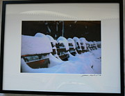 Park Benches Photo Originals - Snowy Central Park Benches by Steven Mendal