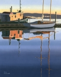 Boats Painting Posters - South harbour reflections Poster by Gary Giacomelli