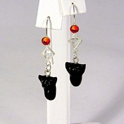 Cat Jewelry - Sparkly Black Kitten Earrings in Fire Opal by Pet Serrano