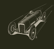 Old Car Drawings Posters - Speed Poster by Jeremy Lacy