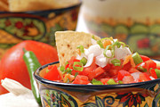 Tex-mex Art - Spicy salsa with tortilla chips by David Smith