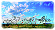 Montana Digital Art - Spirit Warriors - Little Bighorn Battlefield Indian Memorial by Gary Baird