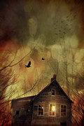 Haunted Photo Posters - Spooky house at sunset  Poster by Sandra Cunningham