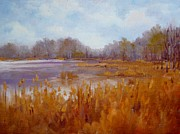 Cattail Paintings - Spring Cattails by K M Pawelec