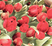 Jayne Logan Posters - Spring Tulips Red Bouquet Poster by Jayne Logan