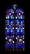 Horizontal Glass Art Prints - Stained Glass Window Blue Print by Thomas Woolworth