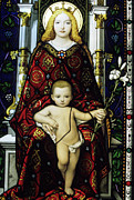 Female Likeness Posters - Stained glass window of the Madonna and Child Poster by Sami Sarkis