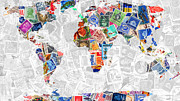 Wingsdomain Art and Photography - Stamps of The World Map . v2