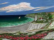 New England Lighthouse Painting Prints - Standing Ready Print by Gordon Beck