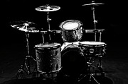 Black And White Drum Posters - Star Drums Two Poster by Sam Hymas