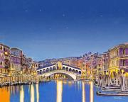 Animal Pastels Pastels Prints - Stars over Venice Print by David Linton