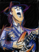 Stevie Ray Vaughn Posters - Stevie Ray Poster by Russell Pierce
