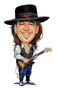 Guitarists Paintings - Stevie Ray Vaughan by Art