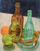 Bottle. Bottling Pastels Prints - Still Life with Antique Car Horn Print by David Bratzel