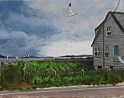 New England Lighthouse Painting Prints - Storm Over Hull Print by Laura Lee Zanghetti