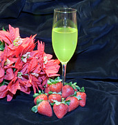 Kitchen Photos Originals - Strawberries and Wine by Michael Waters
