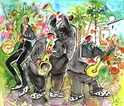 Napa Drawings Prints - Street Musicians in Cyprus Print by Miki De Goodaboom
