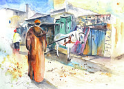 Moroccan Drawings Posters - Street Scene in Morocco 01 Poster by Miki De Goodaboom