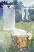 Drying Clothes Framed Prints - Summer laundry drying on clothesline Framed Print by Sandra Cunningham