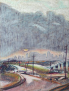 Poles Drawings - Sun and Clouds over San Francisco with West Oakland OverRamp and Tracks by Asha Carolyn Young