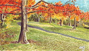 Fall Grass Drawings Framed Prints - Sunday in the Park Framed Print by Iris M Gross