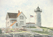 New England Lighthouse Painting Prints - Sunrise at Nubble Light Print by Dominic White