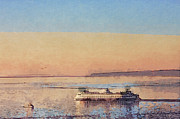 Seattle Digital Art Originals - Sunset and Ferry by Arthur Kuntz
