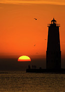 Lake Front Photo Framed Prints - Sunset at Frankfort North Breakwater Lighthouse Framed Print by Adam Romanowicz