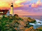 Rocky Shoreline Paintings - Sunset at Portland Head by Dominic Piperata