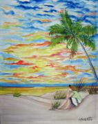 Daydreamer Paintings - Sunset Beach by Gloria E Barreto-Rodriguez
