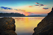 Tennessee River Photo Prints - Sunset Between the Rocky Shore Print by Steven Llorca