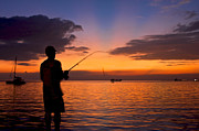 Manila Photos - Sunset Fishing by Arj Munoz