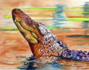 Alligator Painting Prints - Sunset Gator Print by Maria Barry
