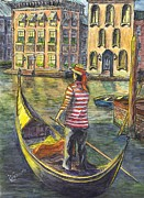 Cityscape Drawings - Sunset On Venice - The Gondolier by Carol Wisniewski