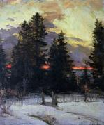 Abram Efimovich Arkhipov - Sunset over a Winter Landscape