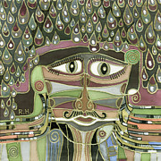 Surrealistic Paintings - Surprize Drops surrealistic green brown face with  liquid drops large eyes mustache  by Rachel Hershkovitz