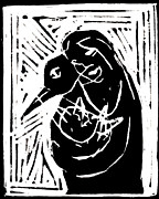 Lino Paintings - Swan and Human Mothers by Edgeworth Johnstone
