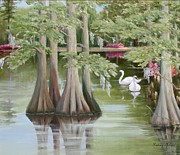 Swans... Paintings - Swan Lake by Audrey McLeod