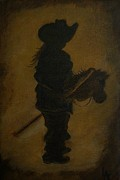 Cowgirl Prints Paintings - Sweet Little Rider by Leslie Allen