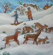 Log Cabin Art Paintings - T is for Togetherness detail from Chidlhood Quilt painting by Dawn Senior-Trask