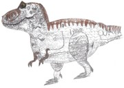 T Rex Drawings Posters - T-rex Poster by Art by Kids  For Kids
