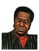 Vocalist Drawings Prints - Tabu Ley Rochereau Print by Emmanuel Baliyanga