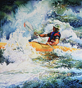 White Water Kayaking Posters - Taming Of The Chute Poster by Hanne Lore Koehler