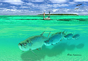Bonefish Drawings Prints - Tarpon Shot Print by Alex Suescun