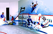 Hockey Painting Framed Prints - Team Sports Mural Framed Print by Hanne Lore Koehler