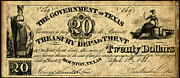 Treasury Framed Prints - Texas Banknote 1838 Framed Print by Granger