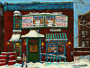 Montreal Winter Scenes Prints - The Bagel Factory On Fairmount Print by Carole Spandau