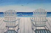 Elizaart Posters - The Beach Chairs Poster by Elizabeth Robinette Tyndall