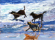 Dog Play Beach Paintings - The Big Stick by Michael Jacques